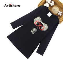 Artishare Girls Dresses Spring Autumn Cartoon Dresses Girls Teenage Party Dress For Girls 6 8 10 12 Year Kids Clothes cheap Polyester COTTON Knee-Length O-neck REGULAR Full Casual Fits true to size take your normal size PATTERN 70133 Children