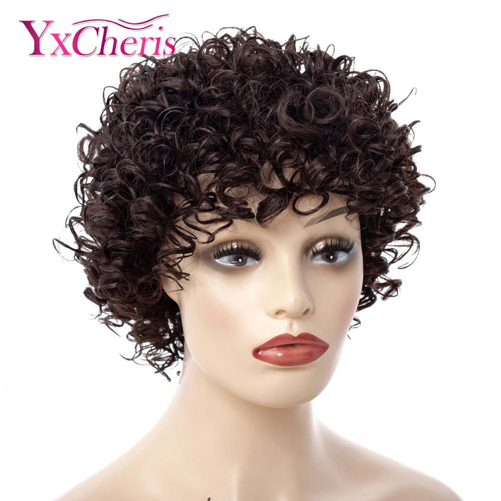 Short Kinky Curly Afro Wig Heat Resistant Wigs For Women