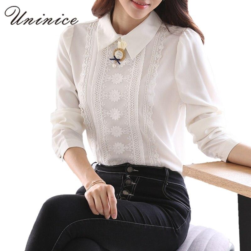 Arco de encaje blanco blusa de las mujeres camisa de peter pan de la blusa camis