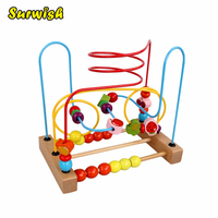 Free Shipping Counting Fruit Bead Wire Maze Roller Coaster Wooden Early Educational Toy For Baby Kids