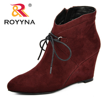 ROYYNA Pointed Toe Wedges Women Boots Fashion Lace-Up Ankle Boots Women Shoes Zipper Comfortable High Heel Boots Shoes Woman msstor pointed toe high heel boots shoes woman casual fashion zipper knee high boots women shoes elegant thin heel women boots