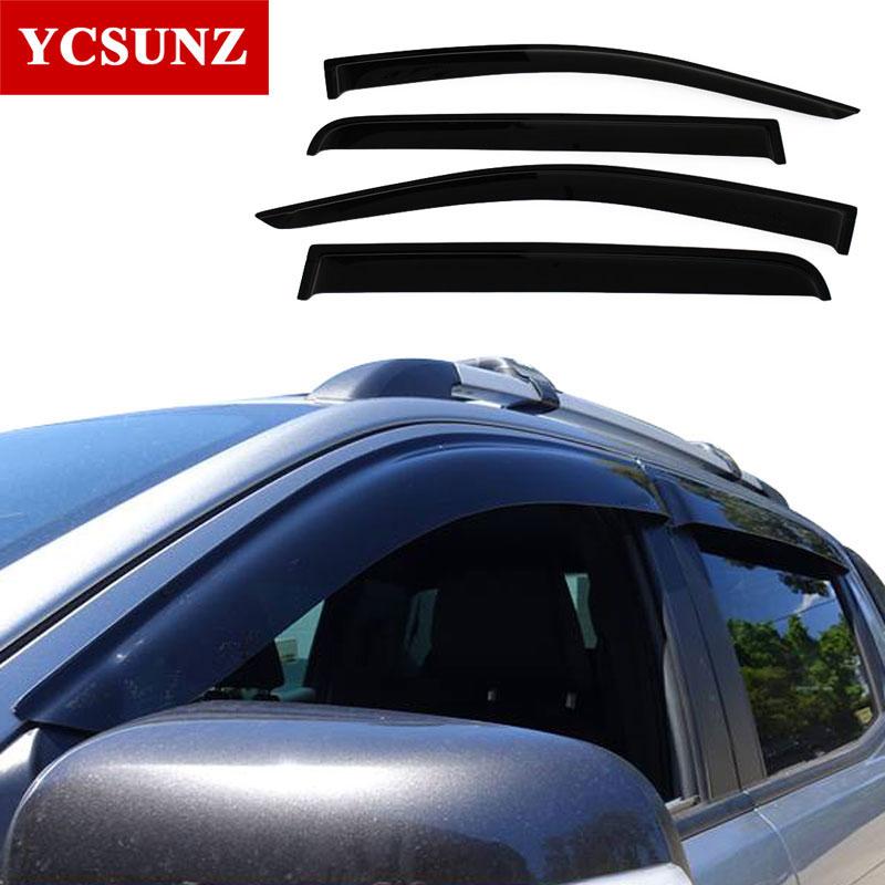 цена на Side Window Deflectors For Ford Ranger Abs Black Color Car Wind Deflector Guard For Ford Ranger T6 2012-2014 Vent Door Visor