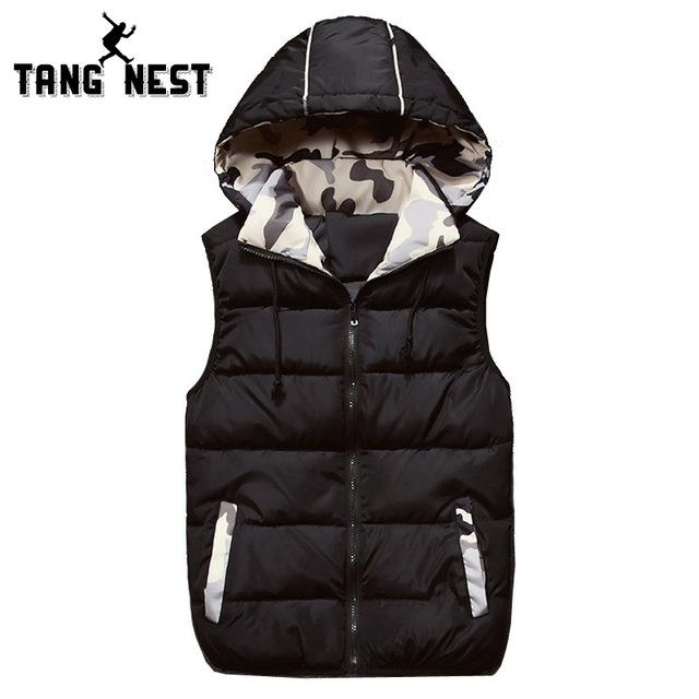 Tangnest hombres chaleco con capucha 2017 otoño invierno cálido chaleco de los hombres de moda de cuatro colores tamaño m-4xl asiática gruesa chaleco mwb225