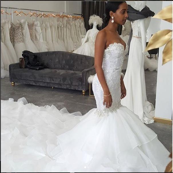 Beautiful Mermaid Wedding Gowns: Beautiful Sweetheart Lace Appliques 2019 Mermaid Wedding