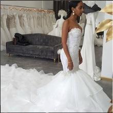 Beautiful Sweetheart Lace Appliques 2019 mermaid Wedding Dresses royal train Beading Bridal Gowns Beaded Vestidos De Mariage
