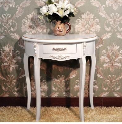 Luxury hall entrance half round table European ivory white entrance table side table simple modern entrance cabinet.
