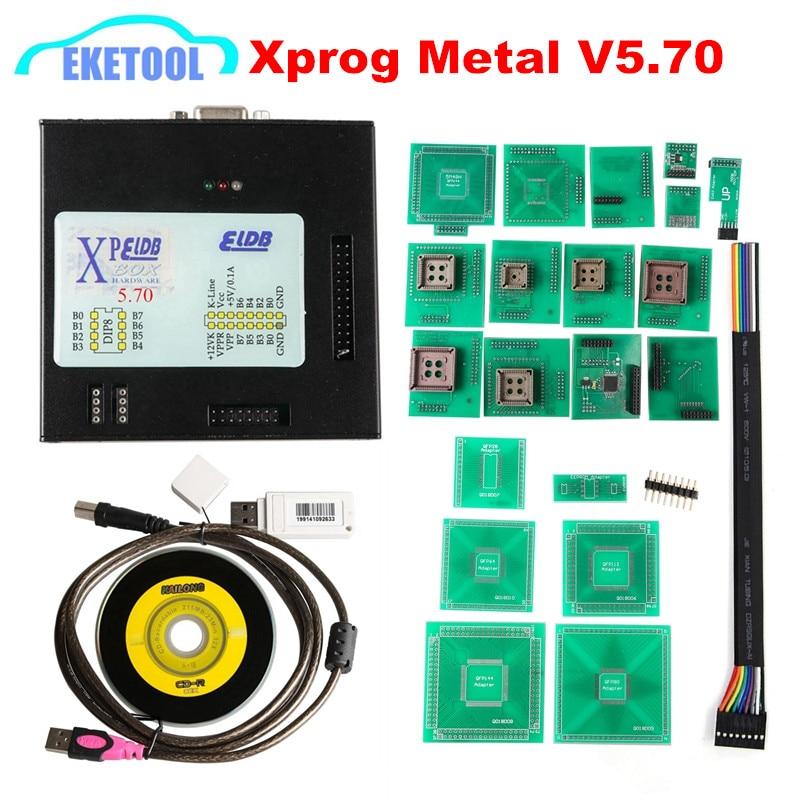 Prix pour 2017 New Sortie XPROG V5.70 + USB Dongle Avec Plein Adaptateurs XPROG-M 5.70 Mieux Que XPROG V5.60/V5.55/V5.0 X prog Boîte En Métal