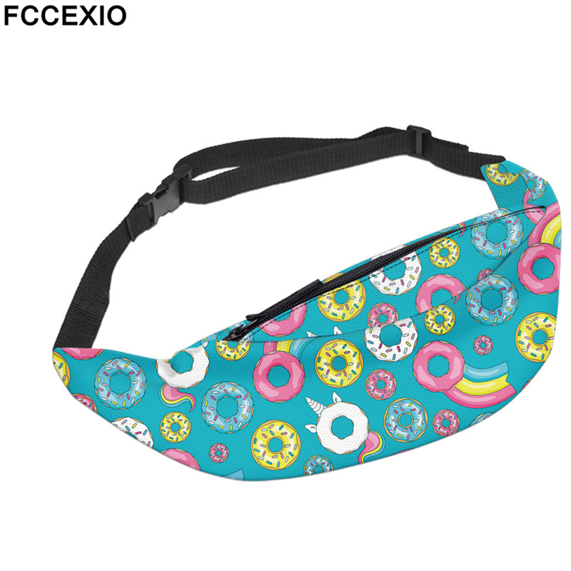 FCCEXIO New Candy Doughnuts Print Waist Pack Unisex Fanny Pack Chest Packs Money Belt Travelling Mobile Phone Bag Waist Bags