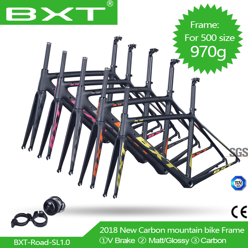 Free shipping Ultralight road bike frame carbon Di2 Mechanical racing bicycle carbon road frame +road fork+seatpost+headset carbon road bike frame 2017 di2 and mechanical 47 49 52 54 56cm super light carbon road frame fork headset carbon bicycle frame