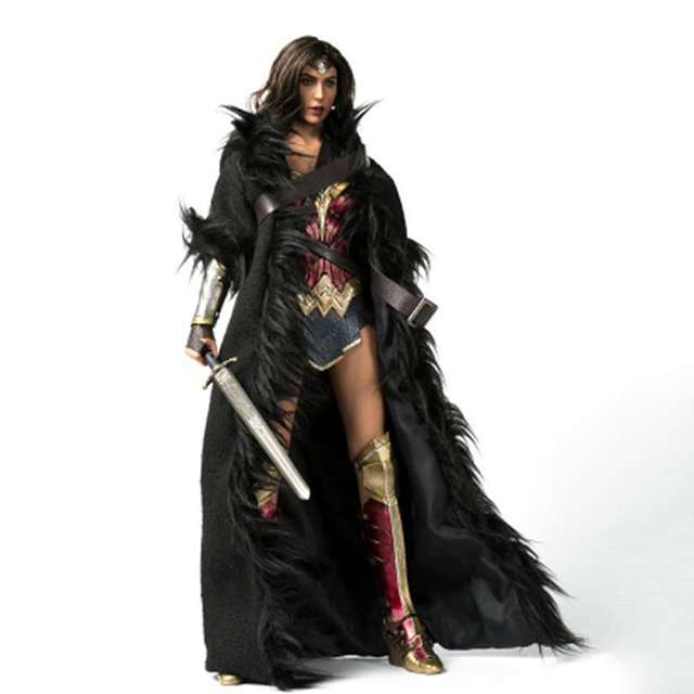 1/6 Wonder Women Black Cloak with Belt Long Coat Models for 12 inches Action   Figure