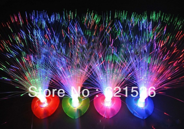 2013 Holiday Sale Party Decoration Heart-shaped Pedestal Colorful Christmas LED Light Fiber Optic Flower 6pcs/lot