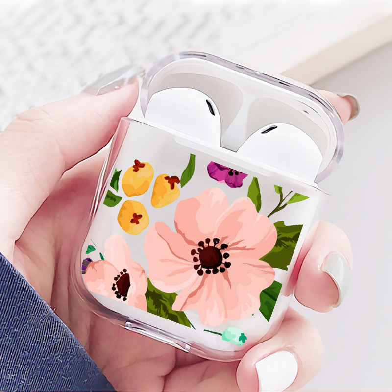 DIFFRBEAUTY Transparent Earphone Case For Airpods Cases Cute Avocado Birds Flowers Leaf Hard PC Crystal Cover Bag For Airpod