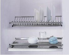 Embedded Dish Drainer 2 Tier Stainless Steel Plate Bowl Cup Drying Rack Inside Kitchen Cabinet