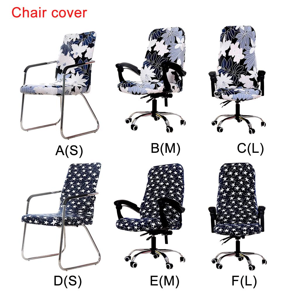 Printed Elastic Computer Office Chair Cover Washable Removable Arm