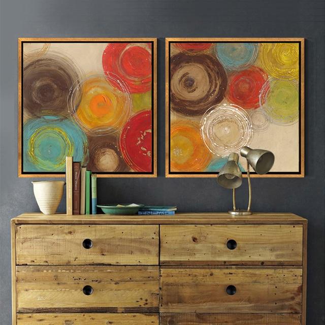 Moderne Abstrakte Malerei Farbige Kreise Dekorative Künstler Leinwand Wand  Kunst Für Home Poster Bild Drucken Wohnzimmer