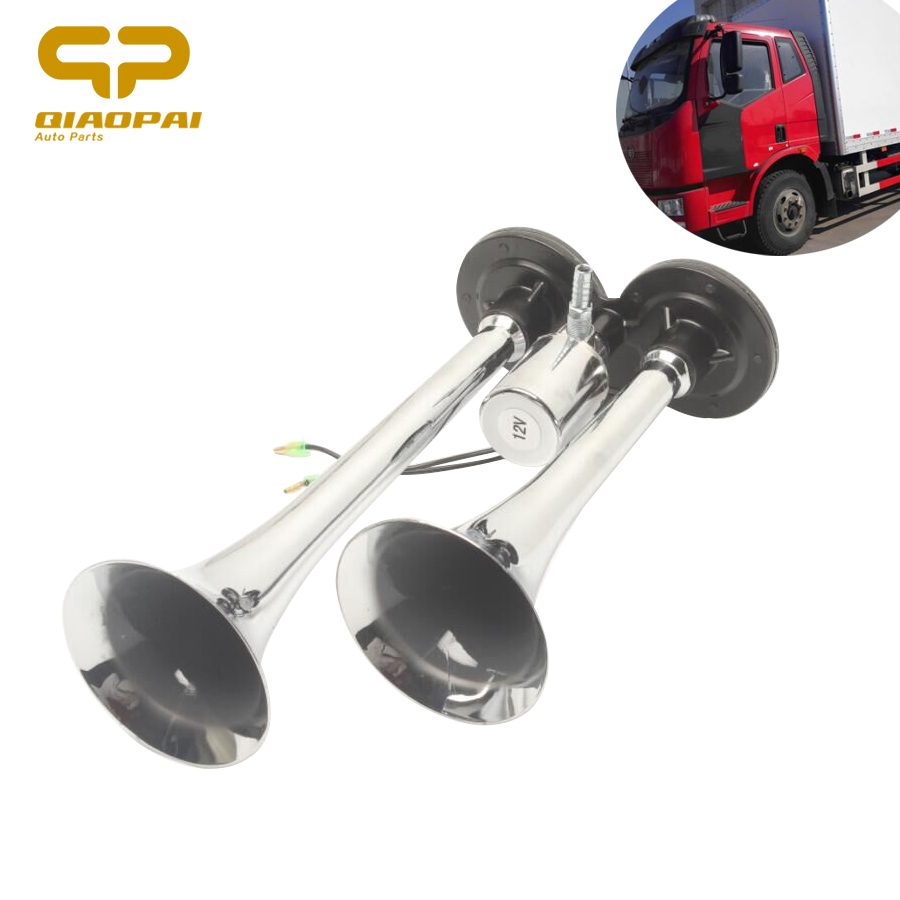 Loud Car Horn 150DB 12V 24V Chrome Siren Horn 12V 24V Two Pipes Dual Way Trumpet Electric Air Horn Car Bus Truck Boat Train
