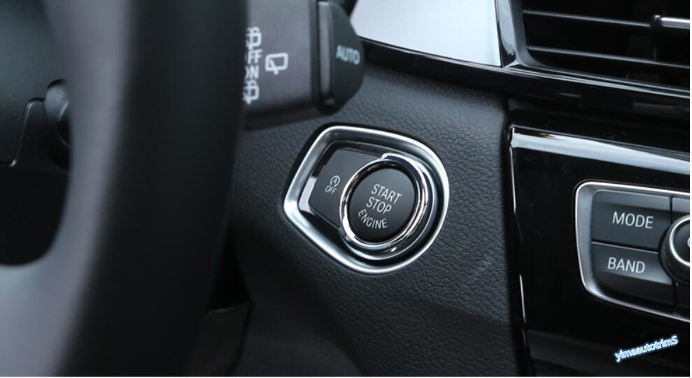 Lapetus Start Start Stop Engine Push Button Key Ring Cover Trim Interior Fit For <font><b>BMW</b></font> 1 Series 116i <font><b>118i</b></font> <font><b>f20</b></font> 2012 - 2017 ABS image