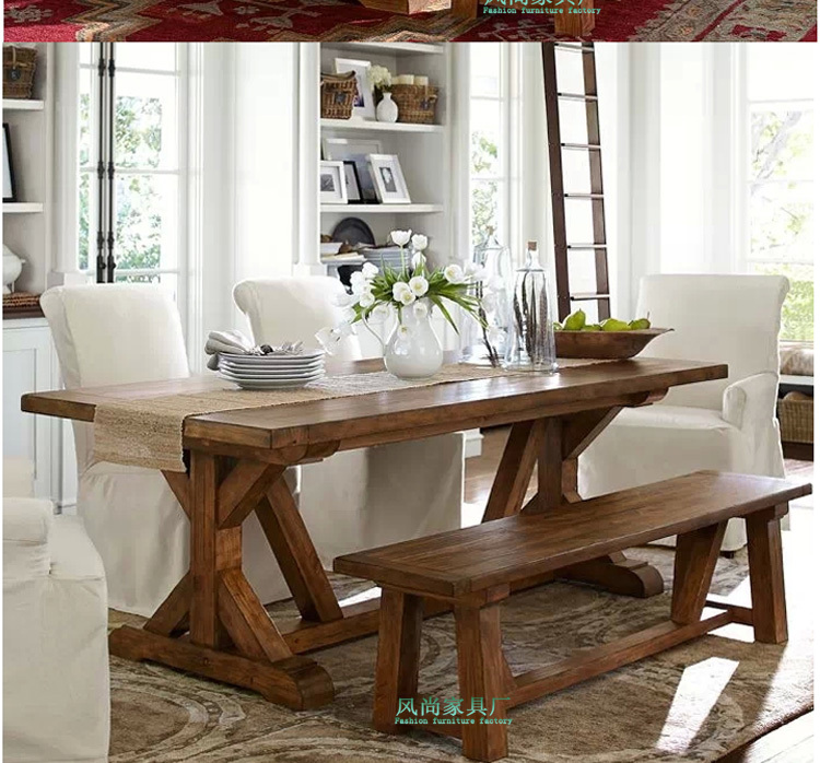 American Vintage solid wood dining table dining table Chazhuo villa ...