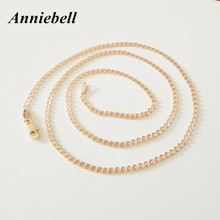 Anniebell New 585 Rose Gold Color Women Jewelry Classic Top Fashion Copper Long 2mm 60cm Slim Figaro Necklace For Women Men