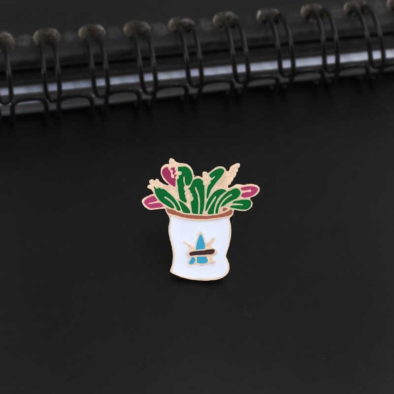 ใหม่การ์ตูนดอกไม้กระถาง Enamel Pin เข็มกลัดผู้หญิงสัตว์น่ารักกบแจ็คเก็ต Lapel Pins เข็มกลัดโลหะเครื่องประดับคู่ Badge ของขวัญ