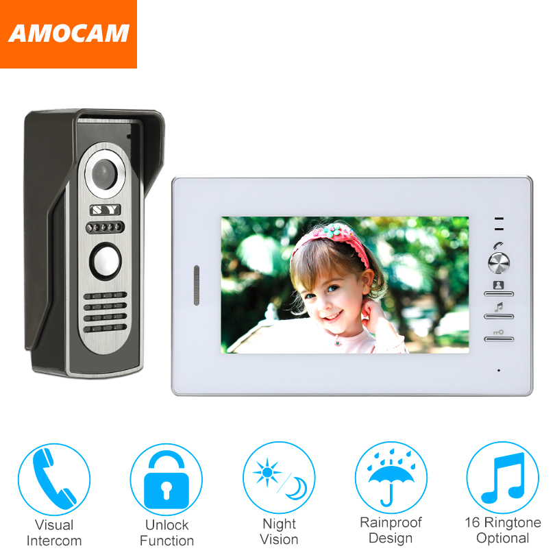 7 Inch Monitor video Door Phone Doorbell system wired Video intercom night vision Aluminium alloy Camera Video doorbell