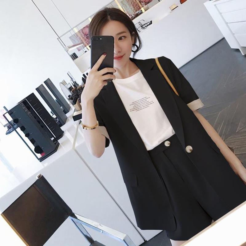 High quality fashion solid color short-sleeved suit suit female Casual office professional blazer Shorts suit women's suit