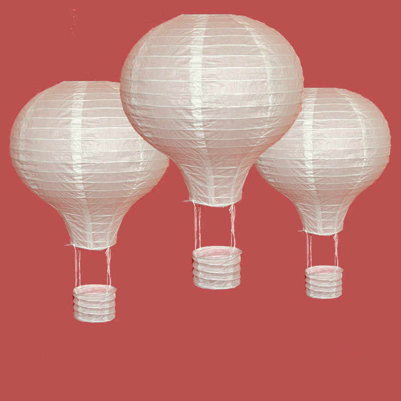 1pc White 10/12/14/16inch Hot Air Balloon Paper Lantern Chinese Wishing Lantern Wedding Decor Kid's Birthday Party Home Supplies
