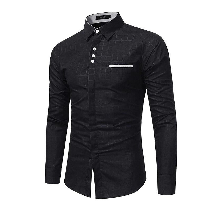 Marke der männer geschäfts Schlank langärmeligen t-shirt männer kleid shirt neues angebot mode einfachen printed plaid trend freizeithemd M-XXL
