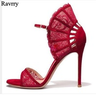 Black Red Lace Pointed Toe Pumps Women High Heel Ankle Strap Fan shaped Sandals Cut out Peep Toe Lady Party Dress Shoes