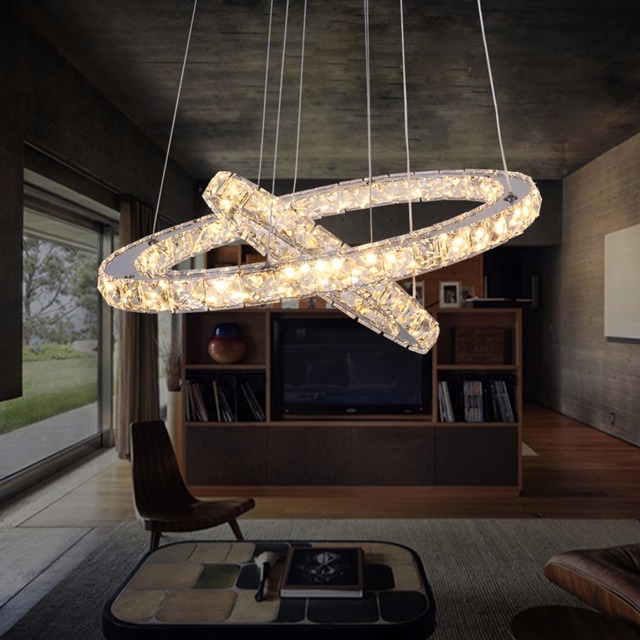 DIY LED Pendant Lampu Cincin Berlian Kristal Menggantung Perlengkapan Gantung Lingkaran Untuk Ruang Makan Atau