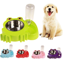 цена Pet Stainless Steel Automatic Drinking Water Feeding Double Bowl Pet Dog Cat  Feeding Water Bowl Food Bowl Casual Feeder D30
