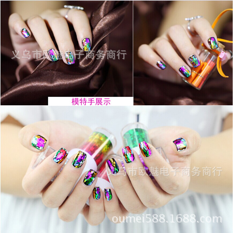 1 Roll 4*120cm 66 types Laser Metal Starry Sky Nail Art Sticker Designs Nail Wraps DIY Nail Foils Decal Tattoos Decorate