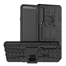 For Samsung Galaxy A9 2018 A920F A920 Case Tire Pattern Hybrid Armor Shockproof Dual Layer TPU & Hard Back Kickstand Cover