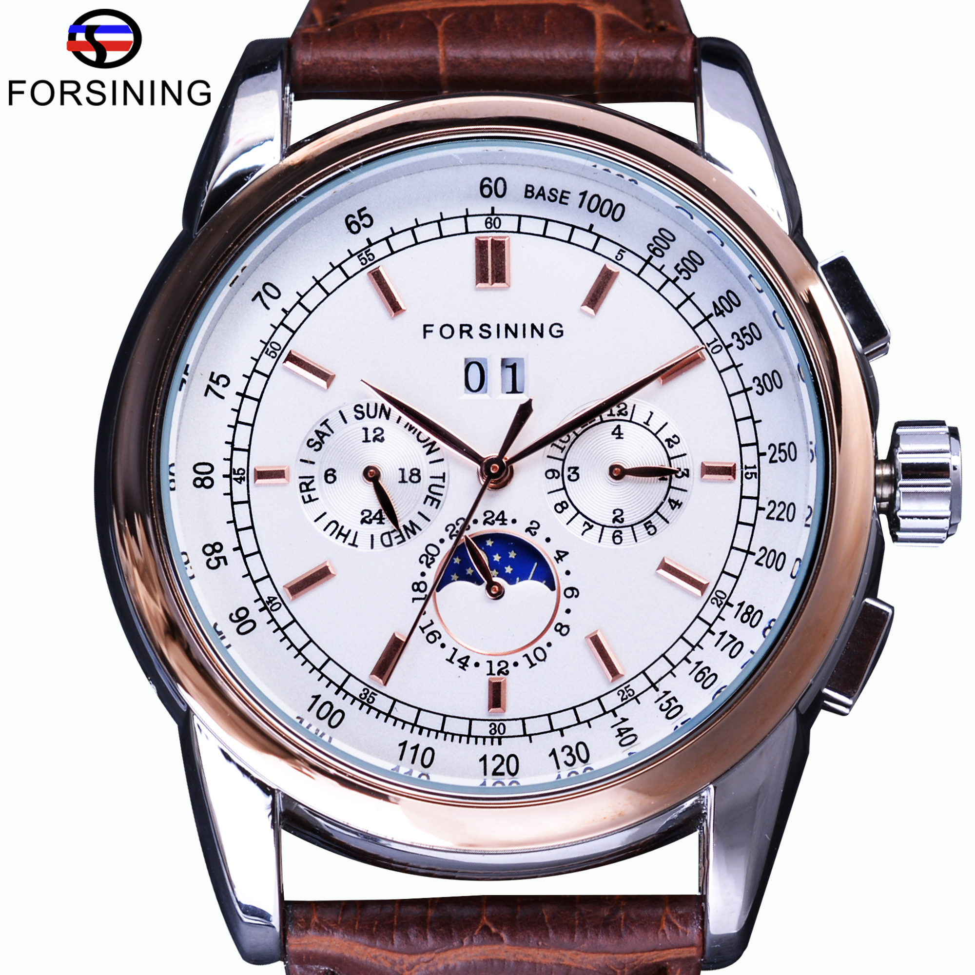 Forsining Rose Golden Moon Phase Design Mechanical Automatic Watches Calendar Brown Leather Mens Watch Top Brand Luxury Clock цена и фото