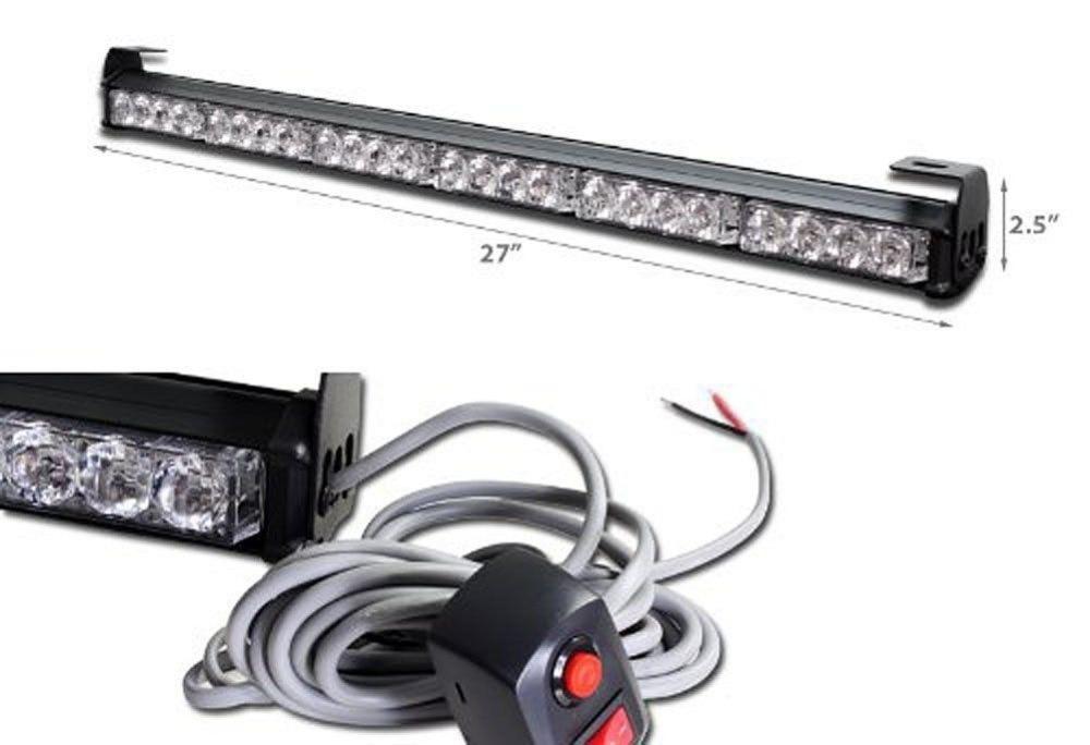 CYAN SOIL BAY White Amber 24 LED 27 Emergency Traffic Advisor Flash Strobe Light Bar Warning