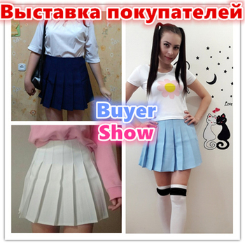 2018 New Spring high waist ball pleated skirts Harajuku Denim Skirts solid a-line sailor skirt Plus Size Japanese school uniform 1
