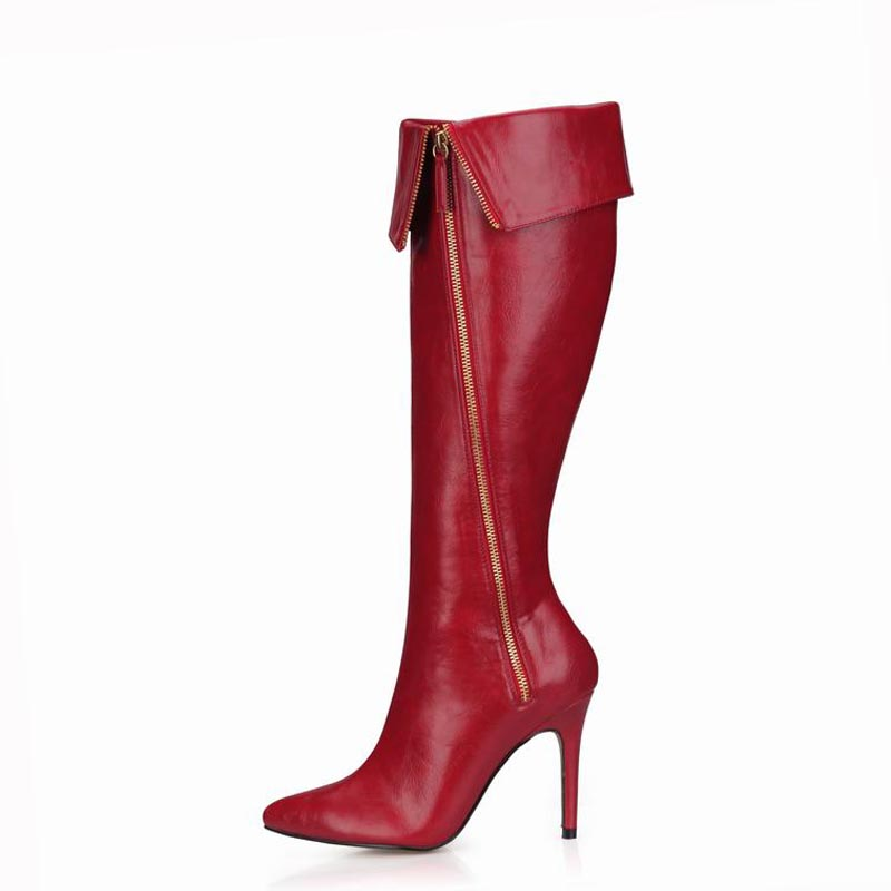 Sexy Fashion Winter Boots Knee High Heels Women Shoes Woman Zapatillas Botas Zapatos Mujer Zip Ladies Party Dress Wedding Shoes