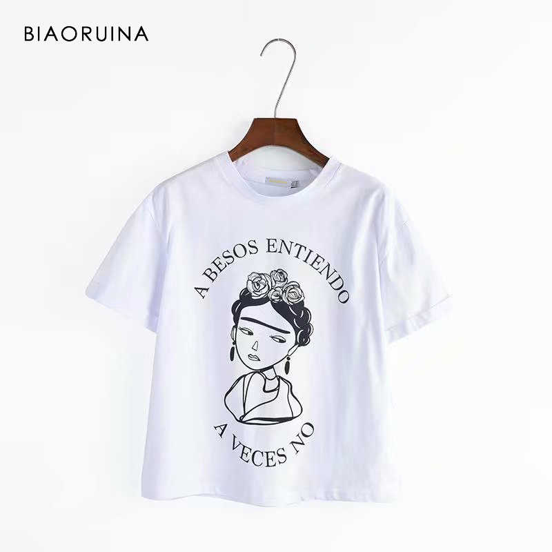 BIAORUINA Women Casual Character Printed T-shirt Short Sleeve Women's Vintage Tees Female All-match Fashion T-shirt Tops