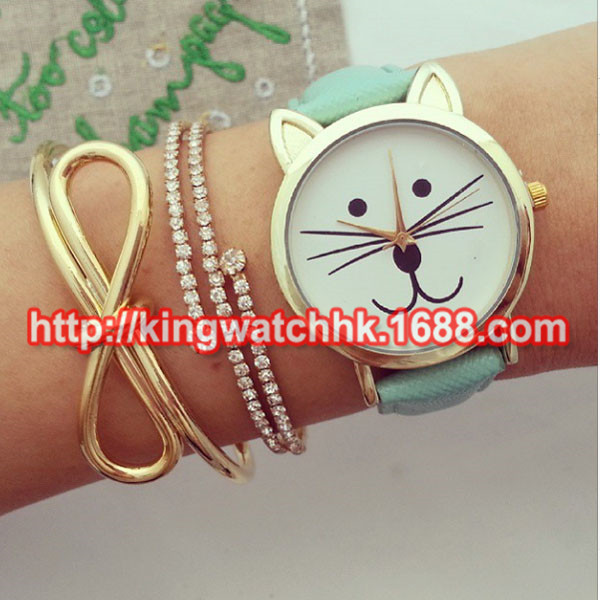 100ps/lot, Preorder .. Graduation Cat face smell cat watch. Kitty watch, cat jewelry for ladies women watches