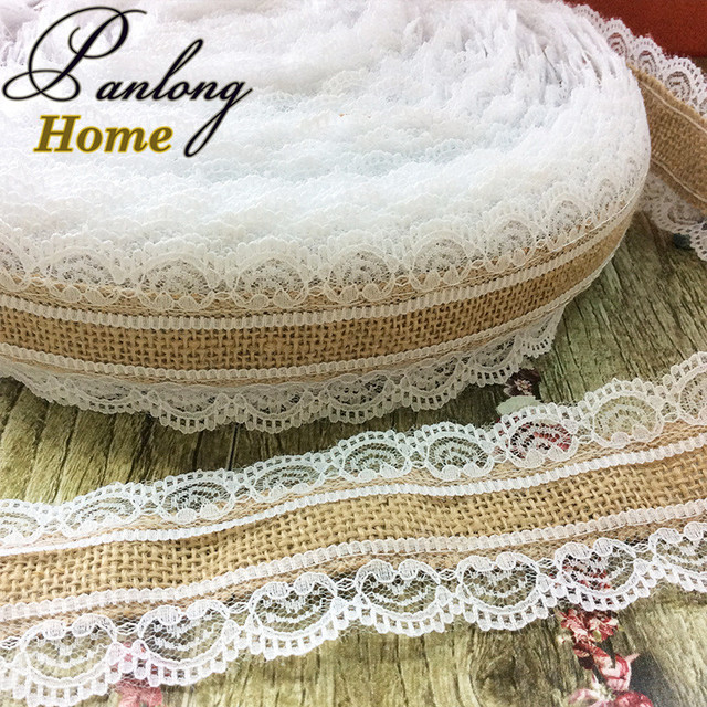 panlonghome 10yards large lace jute burlap ribbon linen patchwork diy handmade christmas wedding craft lace linen