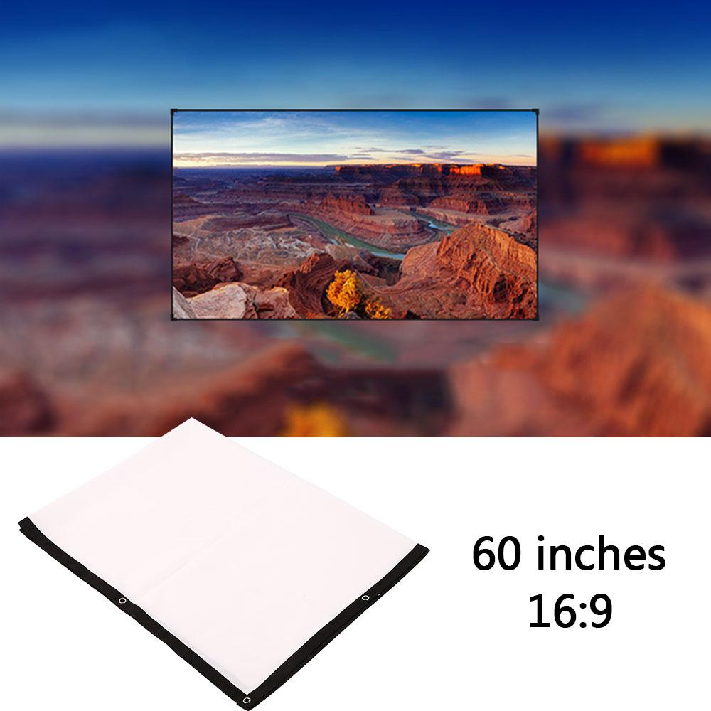 Foldable 60 inch 16:9 Projector White Projection Screen For HD Projector Home Theater Cinema Movies Party Indoor Outdor
