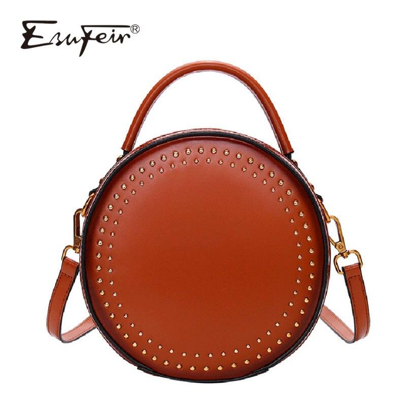 ESUFEIR New Genuine Leather Women Handbag Vintage Rivet Shoulder Bag Messenger Bag Casual Designer Small Round