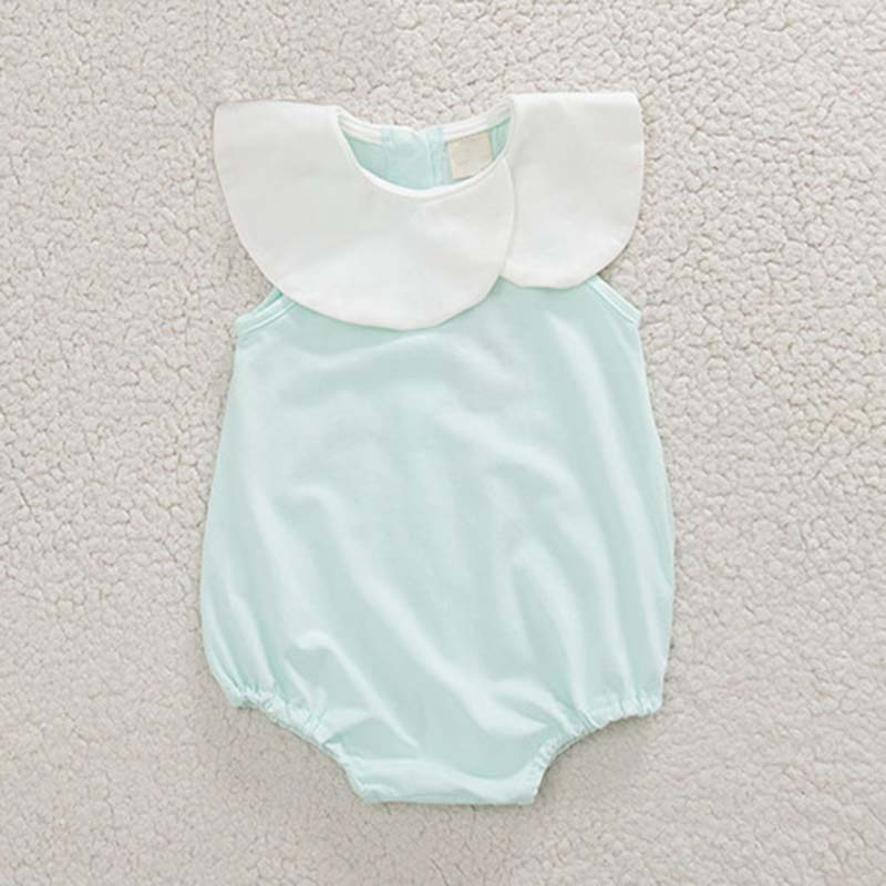 Summer Twins Baby Pure Cotton Bodysuit Fashion Toddler Girl Lotus Leaf Collar Jumpsuit Children Sleeveless Onesie Clothes 9-24M (9)