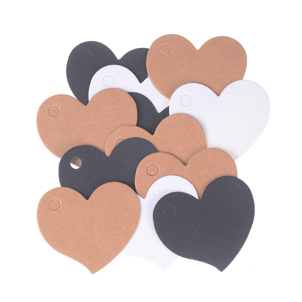 100Pcs/pack Heart Shape Blank Kraft Paper Card Gift Tag Label DIY Party Wedding Crafts 4.5x4cm
