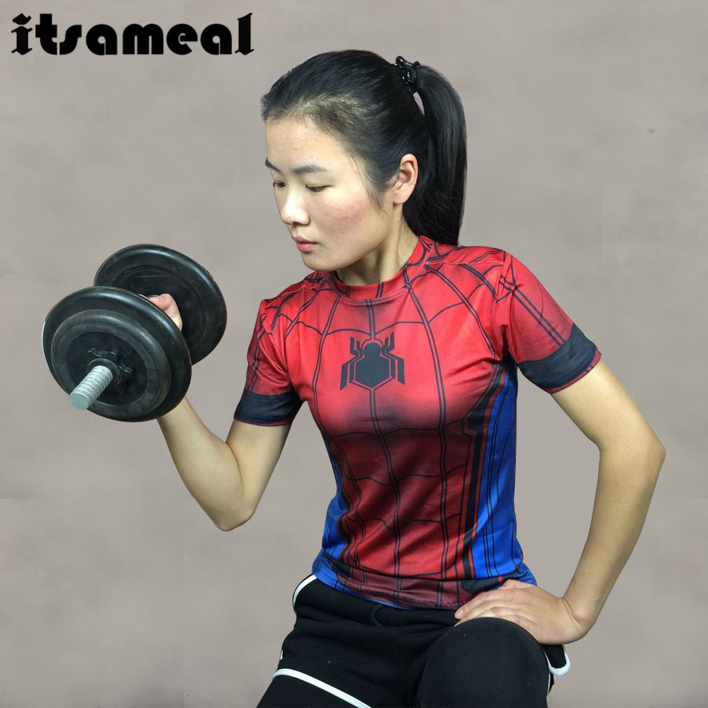 Spiderman 3D Printed T Shirt Women Compression Shirt Raglan Short Sleeve Captain America Cosplay Costume Quick Dry Tops Female