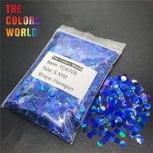 TCA705 Голографический лазерный Королевский синий цвет Шестигранная форма блеск для ногтей украшения ногтей гель макияж Facepaint аксессуар «сделай сам»