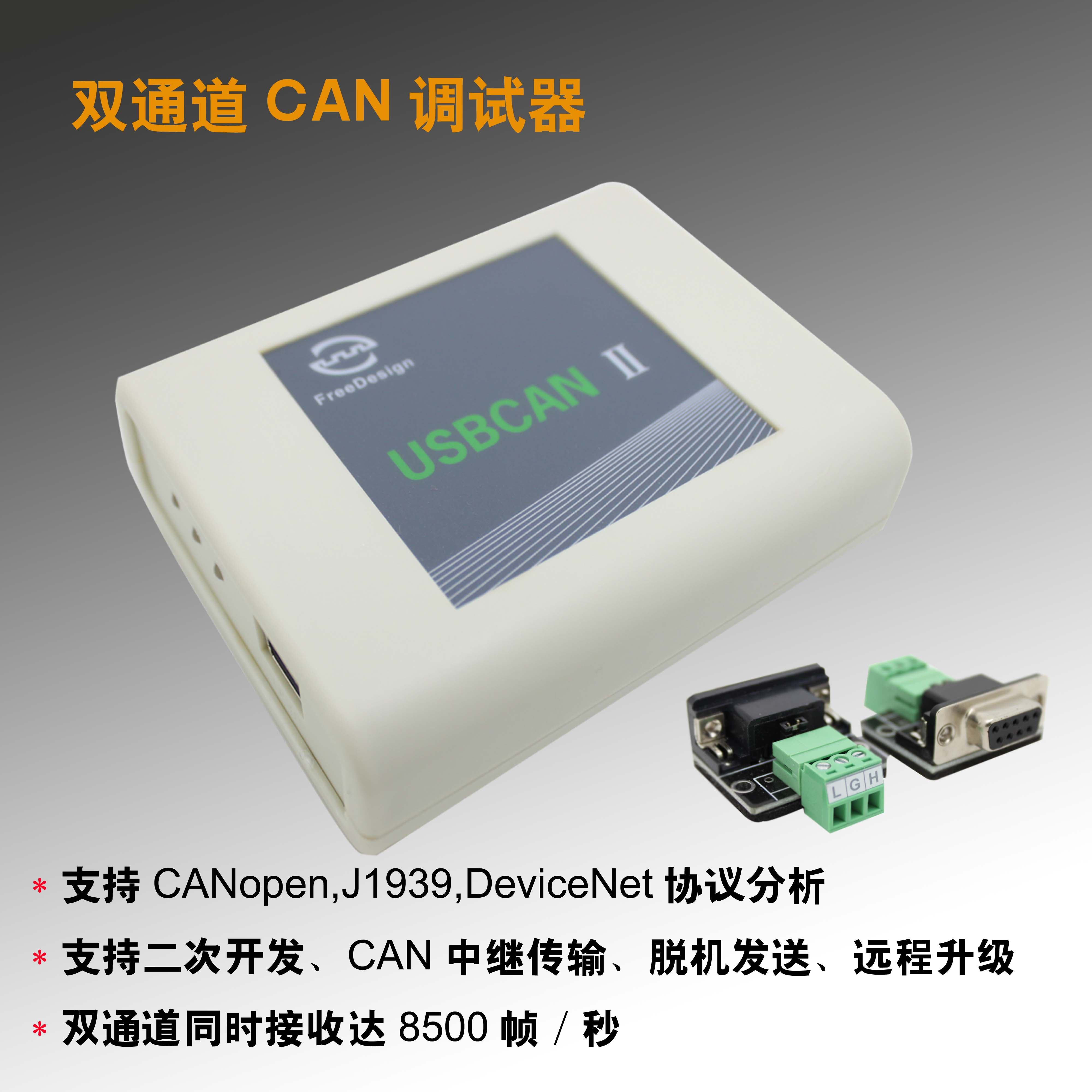 USBCAN II Industrial Dual Channel CAN High Speed Reception Supports CAN Relay Offline Transmission freeshipping usbcan i intelligent can interface card usb can
