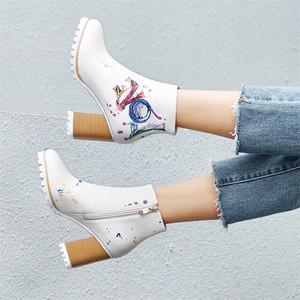 Image 5 - FEDONAS moda yeni kadın baskı yarım çizmeler yüksek topuklu fermuar gece kulübü parti ayakkabıları kadın Punk sonbahar kış temel botları pompaları