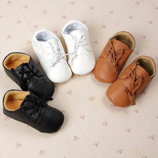 Fashion PU Leather British Style Baby Shoes for 0-12months Kids Shoes with Air Hole Antiskip Unisex Footwear First Walkers