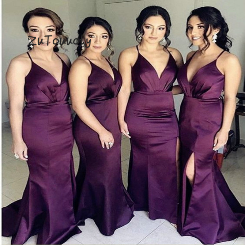 Elegant Mermaid Purple   Bridesmaid     Dresses   V Neck Plus Size Satin Long Maid Of Honor   Dress   Front Slits Cheap Wedding Guest   Dress